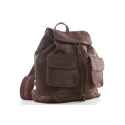 Vintage women's brown leather backpack