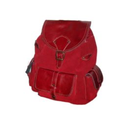 Leather Backpack Red Suede