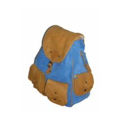 Leather Backpack Suede Light Brown and Turquoise