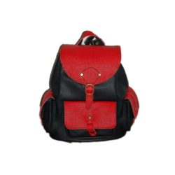 Leather Backpack with Red Elements