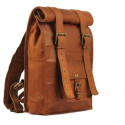 Brown leather vintage backpack II