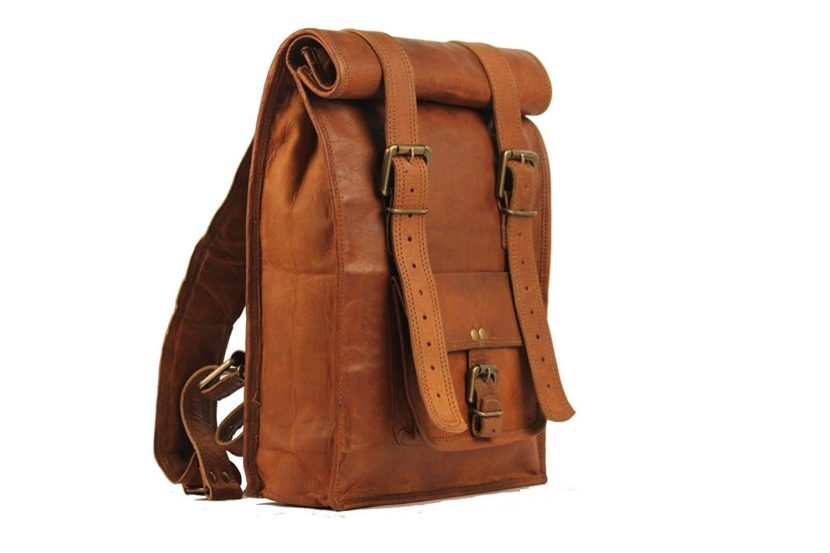 Brown leather vintage backpack II