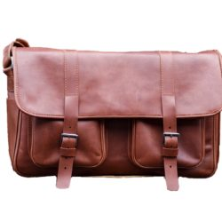 brown leather messenger dSLR bag TUSCANS
