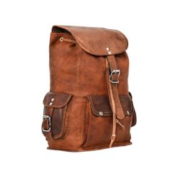 Brown leather vintage backpack III