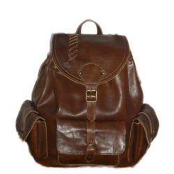 Leather Backpack dark brown with pockets