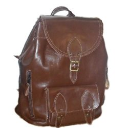 Leather Backpack dark brown with zipper