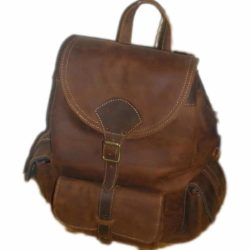 Leather Backpack vintage brown Suede