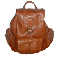 Leather Backpack brown glossy