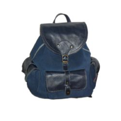 blue leather suede backpack