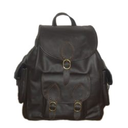 Black leather backpack biker model