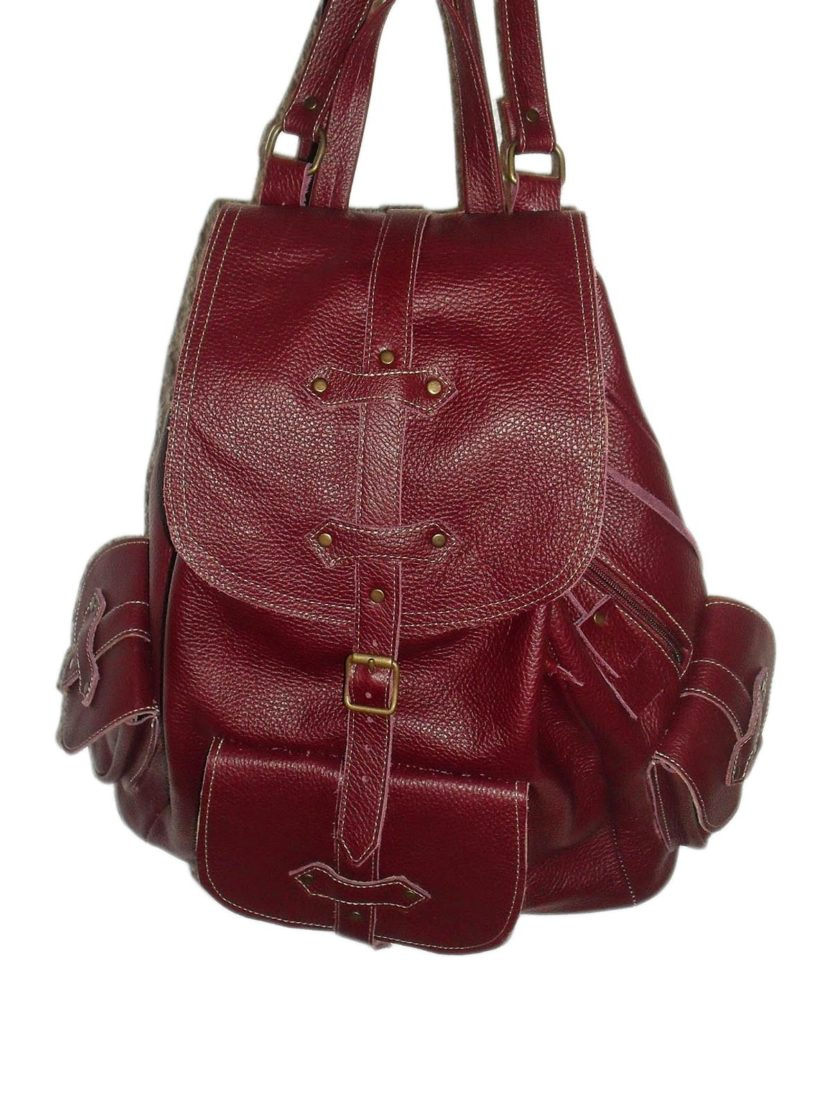 Brown leather backpack great feeling on touch
