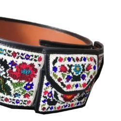 Hand Tooled Leather Beaded Wide Belt