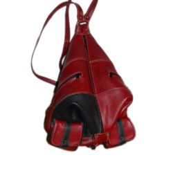 Leather Backpack with zipper Dark Red and Black