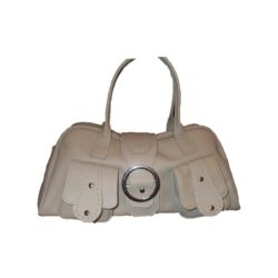 Leather Handbag Beige With two pockets