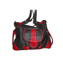 Leather Handbag Black and Red One pocket