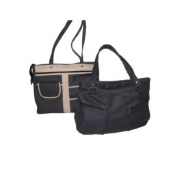Leather Handbag Black side pockets and zippers
