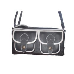 Leather Handbag Black two pockets two zippers