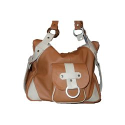 Leather Handbag Brown & White One pocket