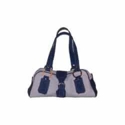 Leather Handbag Grey and Blue white Seam
