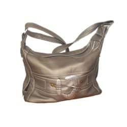 Leather Handbag Grey with buckle