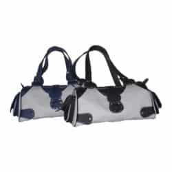 Leather Handbag Light Grey with Blue or Black
