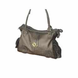 Leather Handbag Metallic Grey side pockets