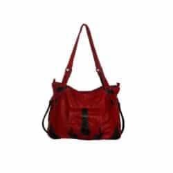 Leather Handbag Red Devilish side pocket
