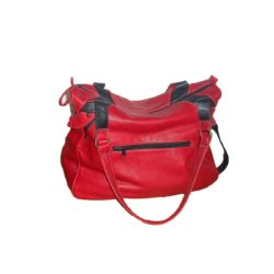 Leather Handbag Red and Black side zipper