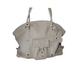 Leather Handbag White Butterfly and Side Pocket