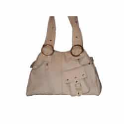 Leather Handbag White Pocket and Zipper