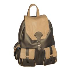 Leather backpack Bicolor beige and olive green