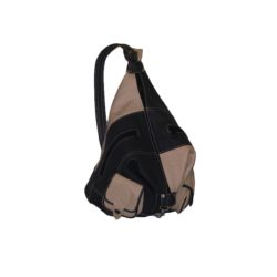 One Side Leather Backpack beige and black