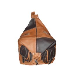 One Side Leather Backpack light brown and dark brown