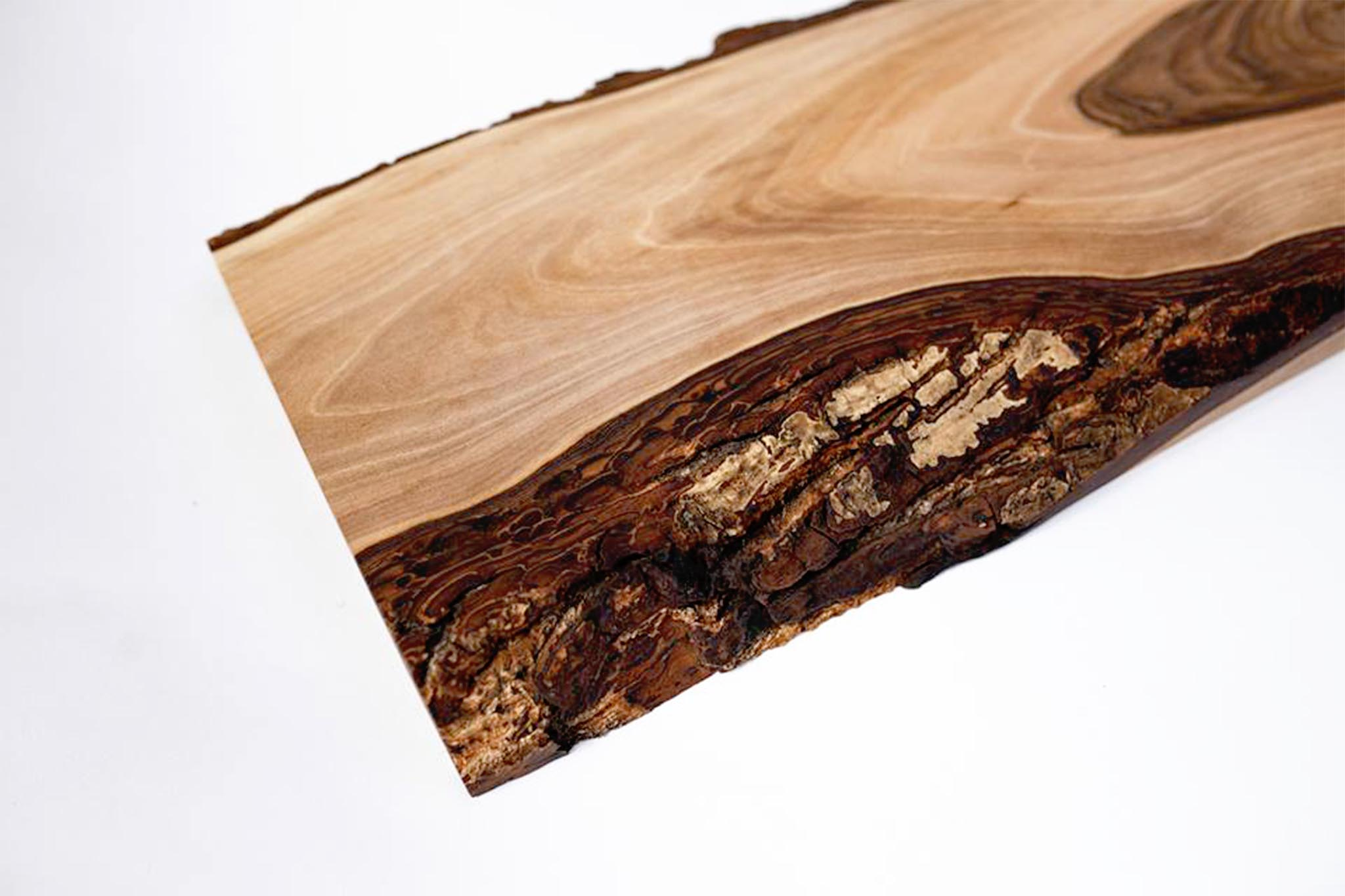 Walnut Wood Cutting Board With Bark Irregular Shape Genuine Strap