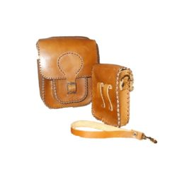 italian leather handbag brown with manual stitching
