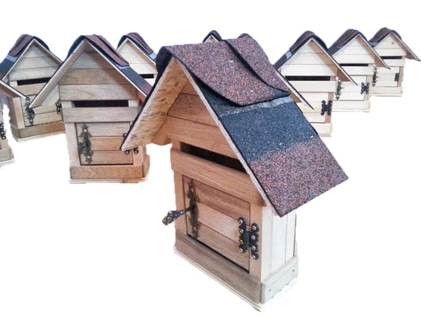 wood mailbox house for letters