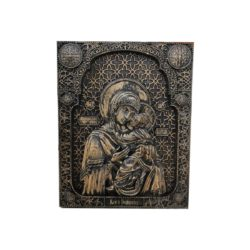 Virgin Mary holding in her arms the baby Jesus Christ wood carved icon