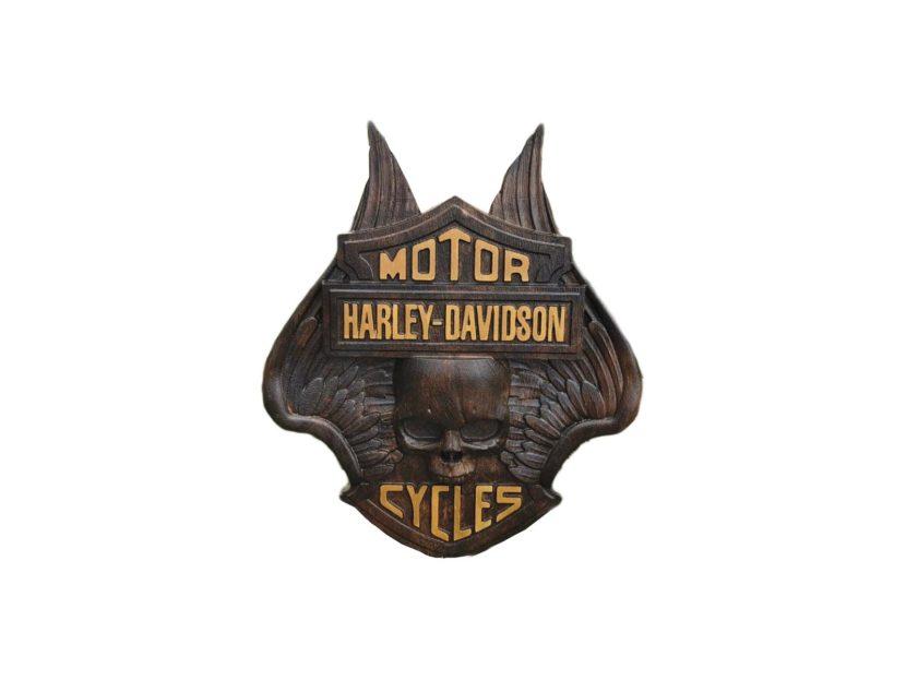 hrley davidson panoply wood carved
