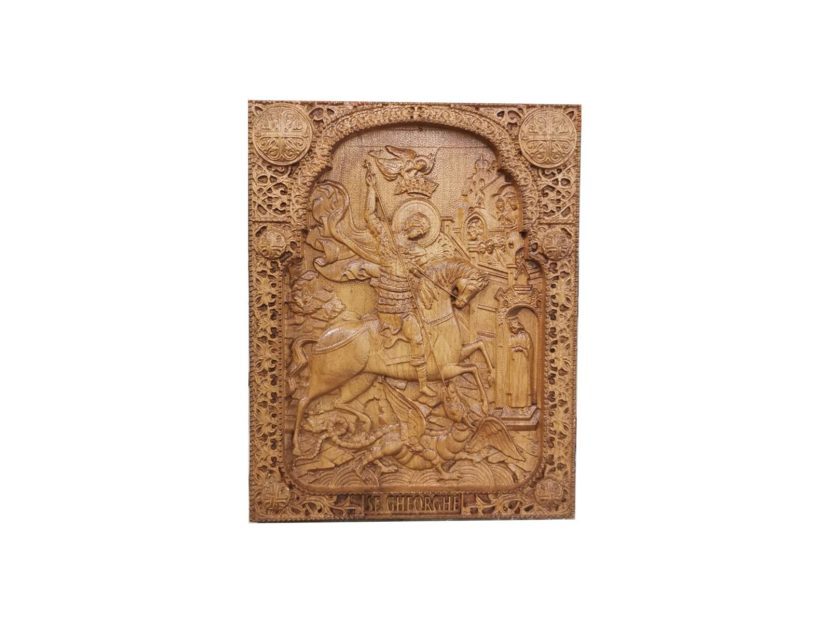 saint george fightning the dragon wood carved icon