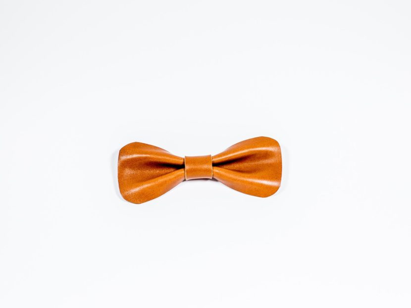 brown Bow tie leather