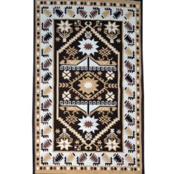 Rustic rug carpet dark brown light brown white yellow color
