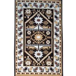 Rustic rug carpet dark brown light brown white yellow color