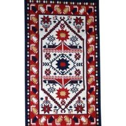 Rustic rug carpet red yellow white dark blue colour