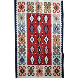 Rustic rug carpet blue yellow red white color