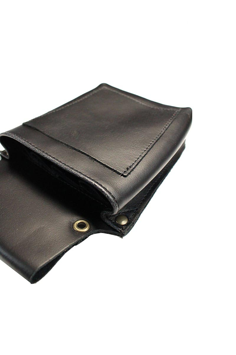 LEATHER BARBER POUCH BLACK