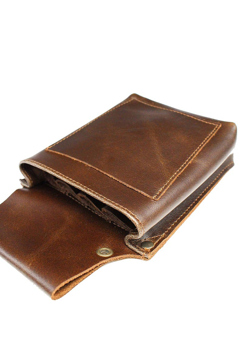 LEATHER BARBER POUCH DARK BROWN