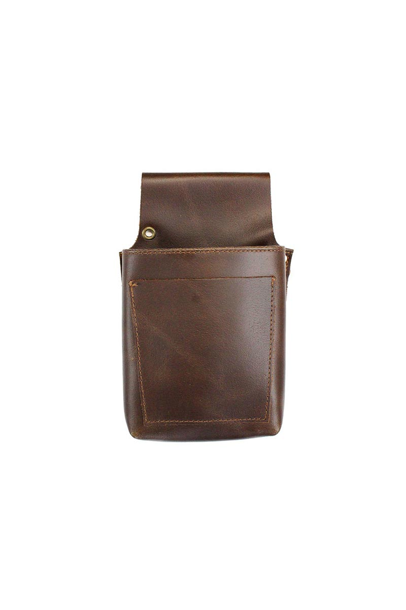 LEATHER BARBER POUCH DARK BROWN product