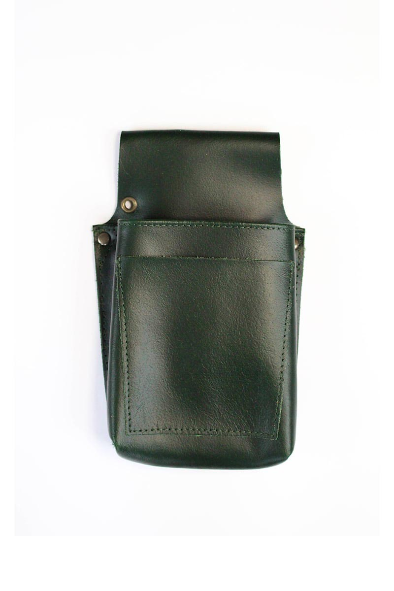 LEATHER BARBER POUCH GREEN