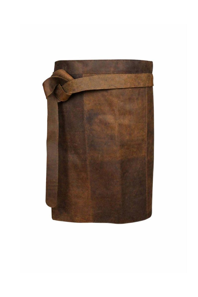 SHORT SUEDE LEATHER APRON WITH BACK POCKET