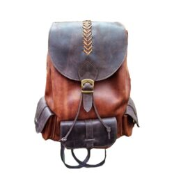 Chestnut Leather Backpack Stitched by hand